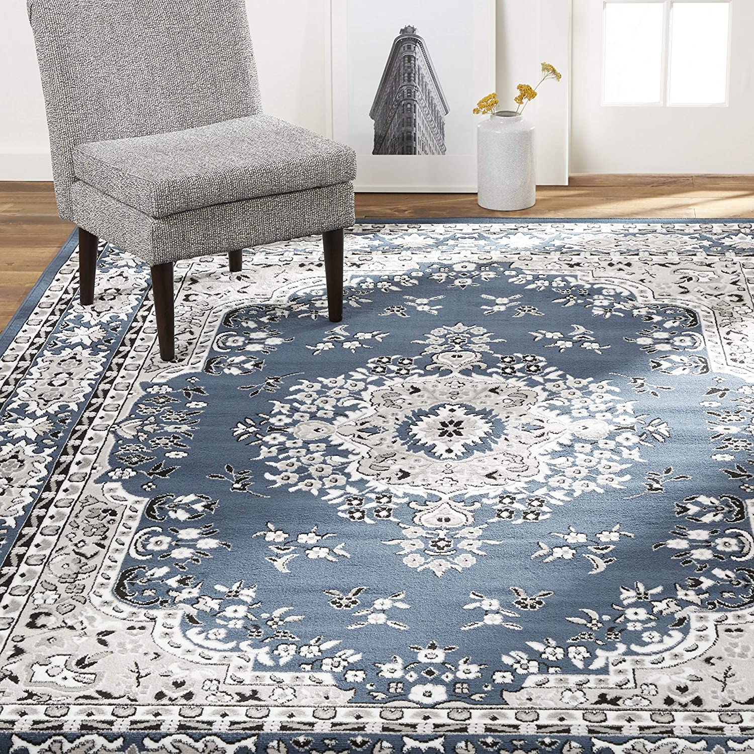 "Home Dynamix Premium Asiana RectangleTraditional Area Rug, Oriental Midnight Blue 21""x35\"""