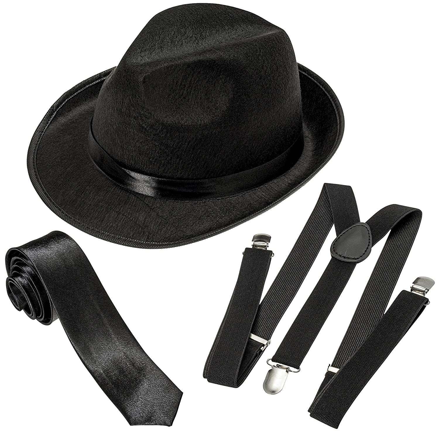 d0a0cce7138a2b Amazon.com: NJ Novelty Gangster Costume Hat, Suspenders and Tie Set Roaring  20s Accessories (Black Hat, Black Suspenders & Black Tie): Clothing