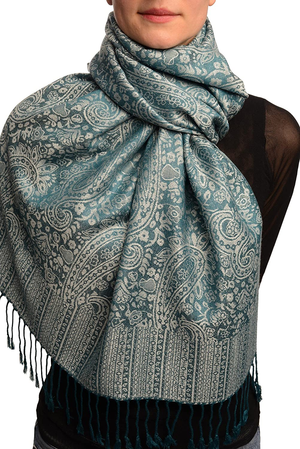 Prussian Blue & Grey Paisleys Pashmina Feel With Tassels - Scarf