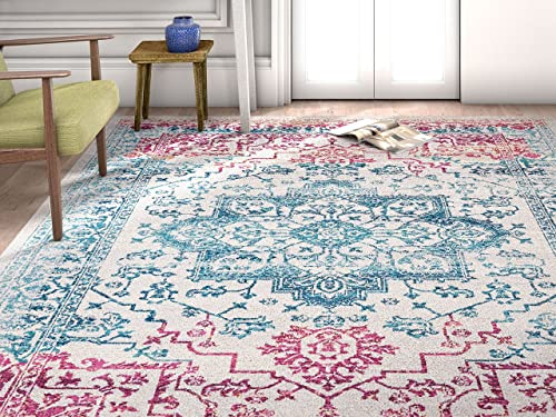 Well Woven Firenze Monte Modern Vintage Medallion Distressed Multi Area Rug 7 10 x 9 10 , Multicolor