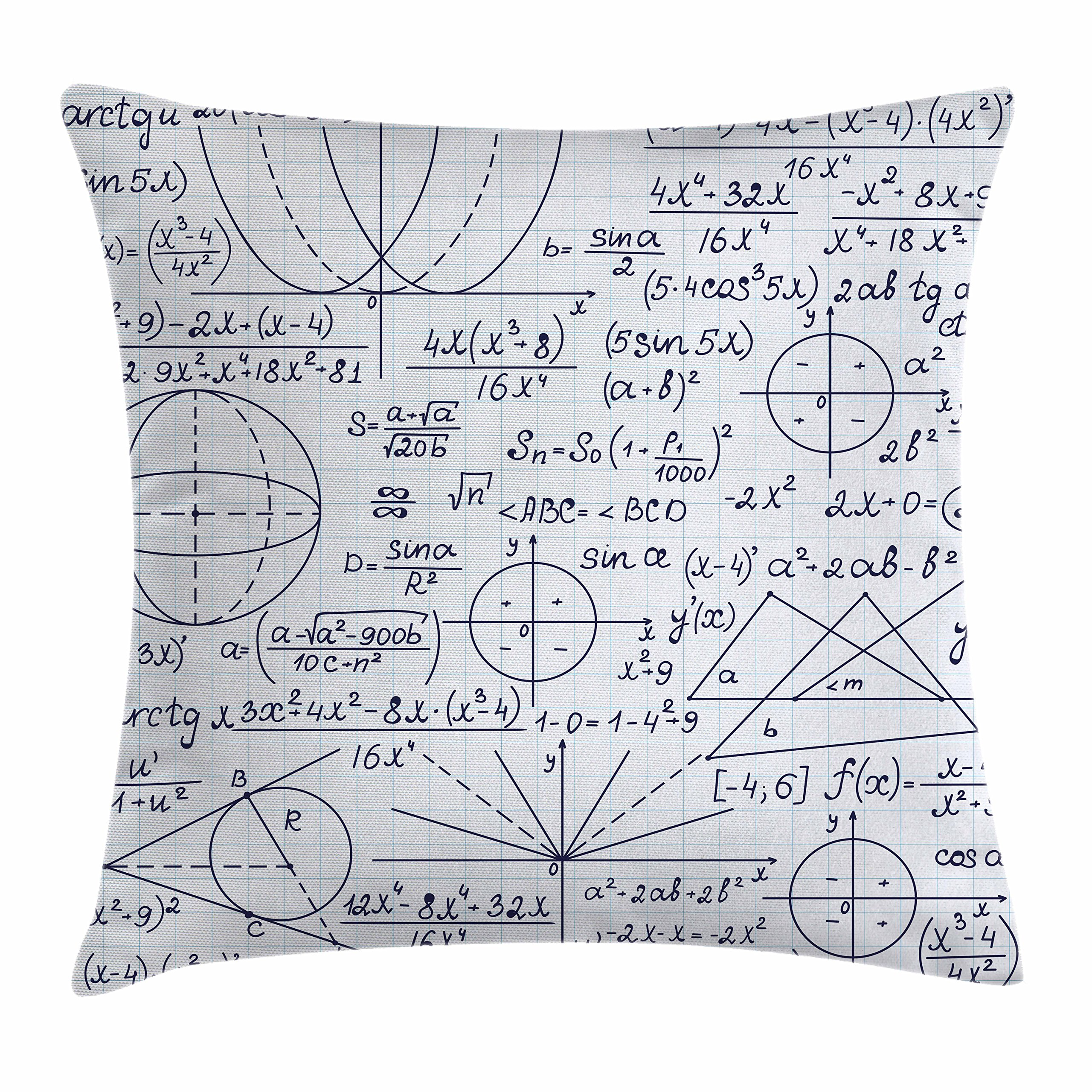 Ambesonne Modern Throw Pillow Cushion Cover, School Genius Smart Student Math Geometry Science Numbers Formules Image Art, Decorative Square Accent Pillow Case, 18 X 18 Inches, Dark Purple White