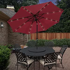 Best Choice Products 10' Deluxe Solar LED Lighted Patio Umbrella with Tilt Red