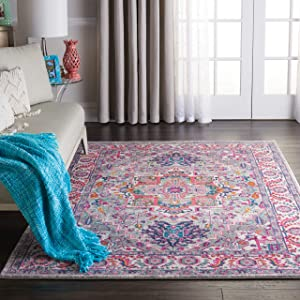 "Nourison PSN20 Passion Persian Colorful Light Grey/Pink Area Rug 5'3"" X 7'3"", 5' x 7'"