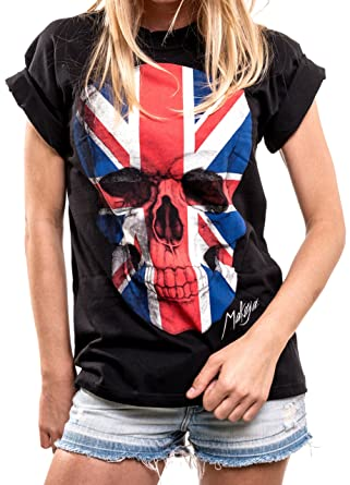 Makaya Skull Gifts For Women Oversized T Shirt With Union Jack