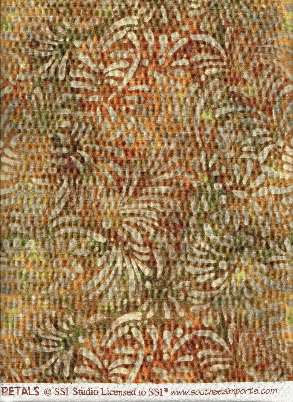 South Sea Imports Fabric Green Orange Petals Dots Brush Strokes