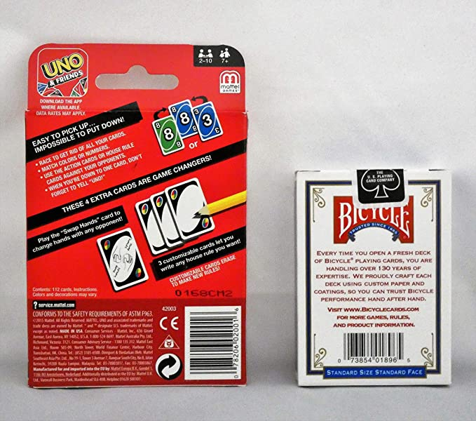 Games Uno Card Game Bundled with Bicycle Standard Playing