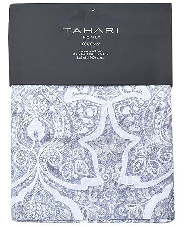 Amazon.com: Tahari Silver Drops Floral Medallion Pair of Curtains ...