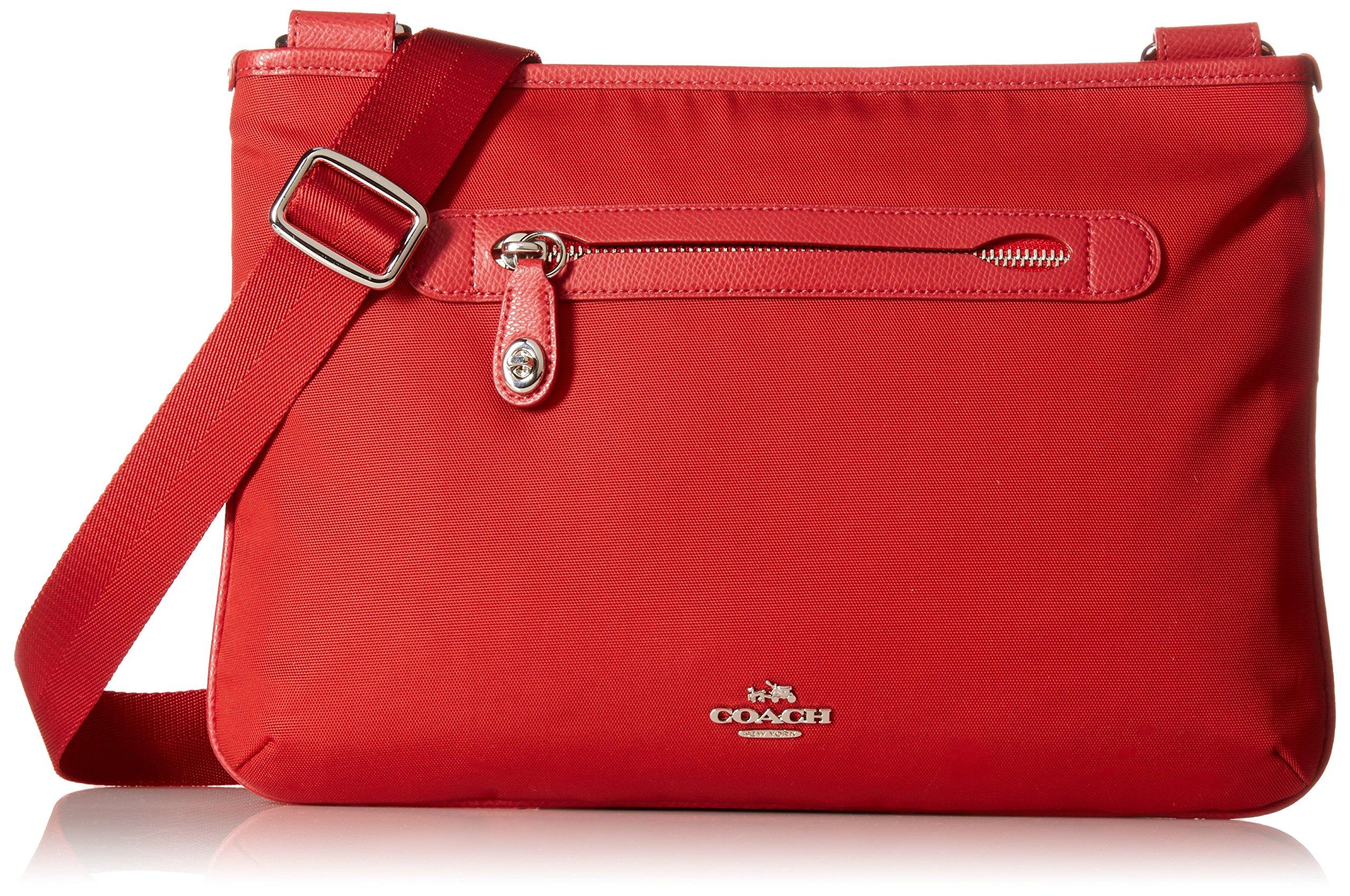 Coach Small Nylon Crossbody Shoulder Bag Style 36707 (Silver/True Red)