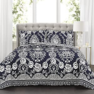 Lush Decor Navy Rosetta Quilt | Floral Vine Ornate Print Pattern Reversible 3 Piece Bedding Bedspread Set-King