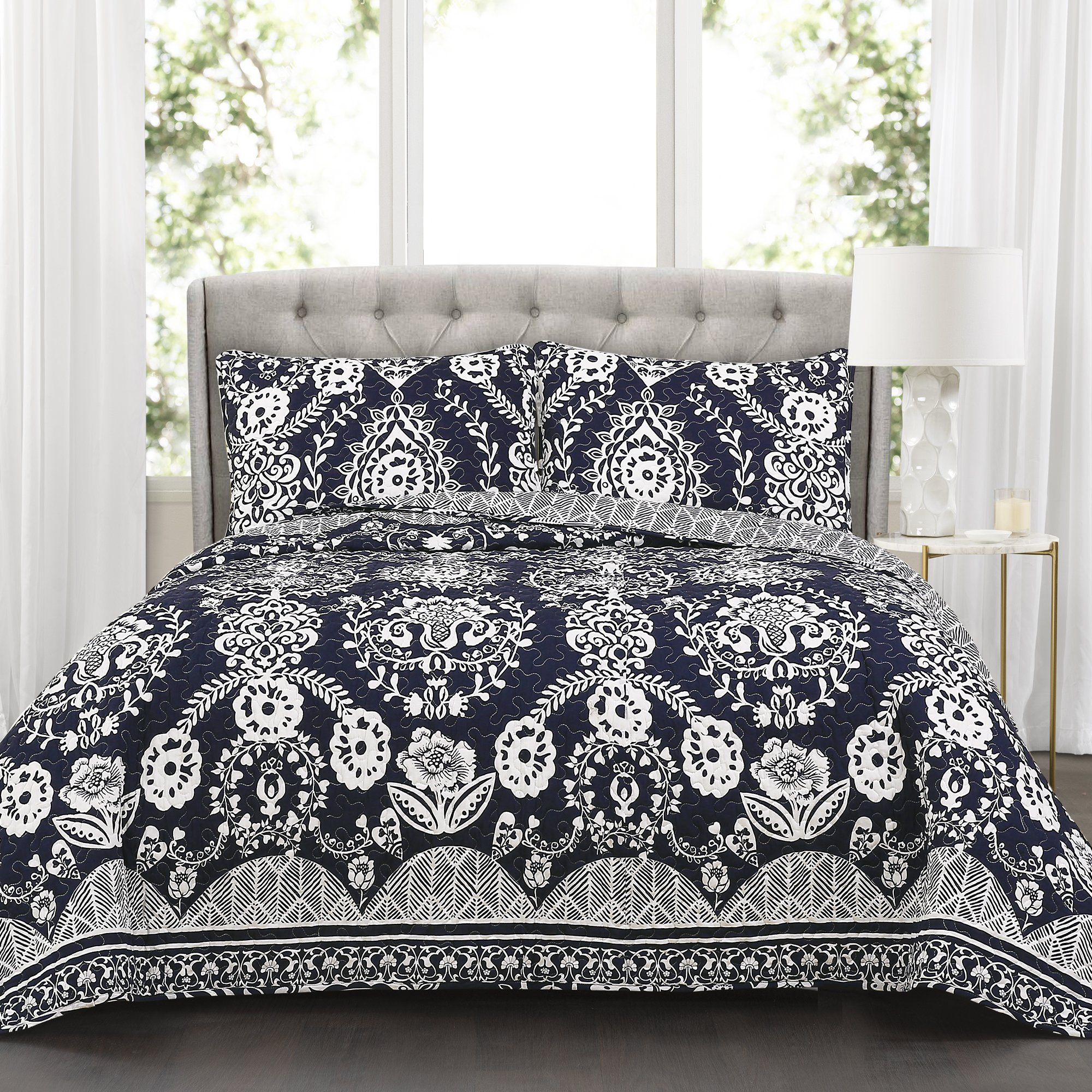 Lush Decor Rosetta Floral 3 Piece Quilt Set, King, Navy