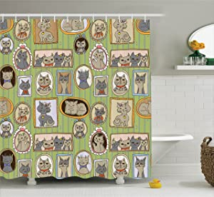 Ambesonne Cat Lover Decor Collection, Framed Pictures of Cute Cats on The Wall Decorating Lovely Memories Moments , Polyester Fabric Bathroom Shower Curtain Set with Hooks, Green Mustard Gray