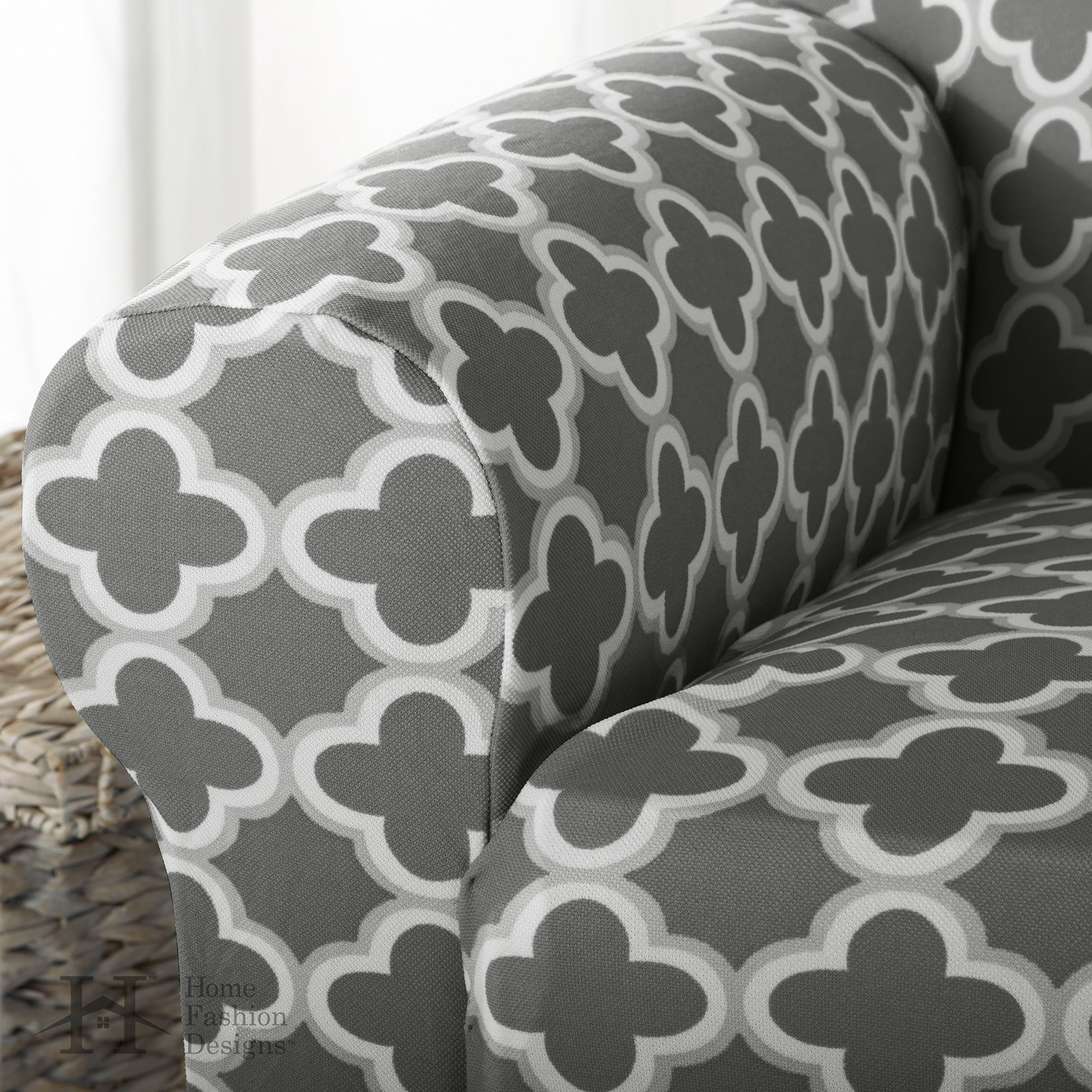 Home Fashion Designs Printed Stretch Furniture Cover Slipcover Brenna Collection
