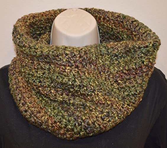 Amazon Handmade Crochet Cowl Scarf Infinity Scarf Green Brown