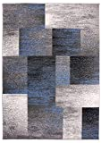 Rugshop Modern Distressed Boxes Area Rug 5' x 7' Blue