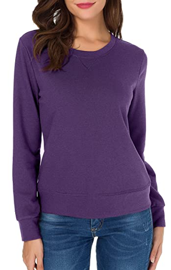 39eedeebba54 Sarin Mathews Womens Crewneck Sweatshirt V-Notch Pullover Long Sleeve  Sweatshirts For Girls Purple M