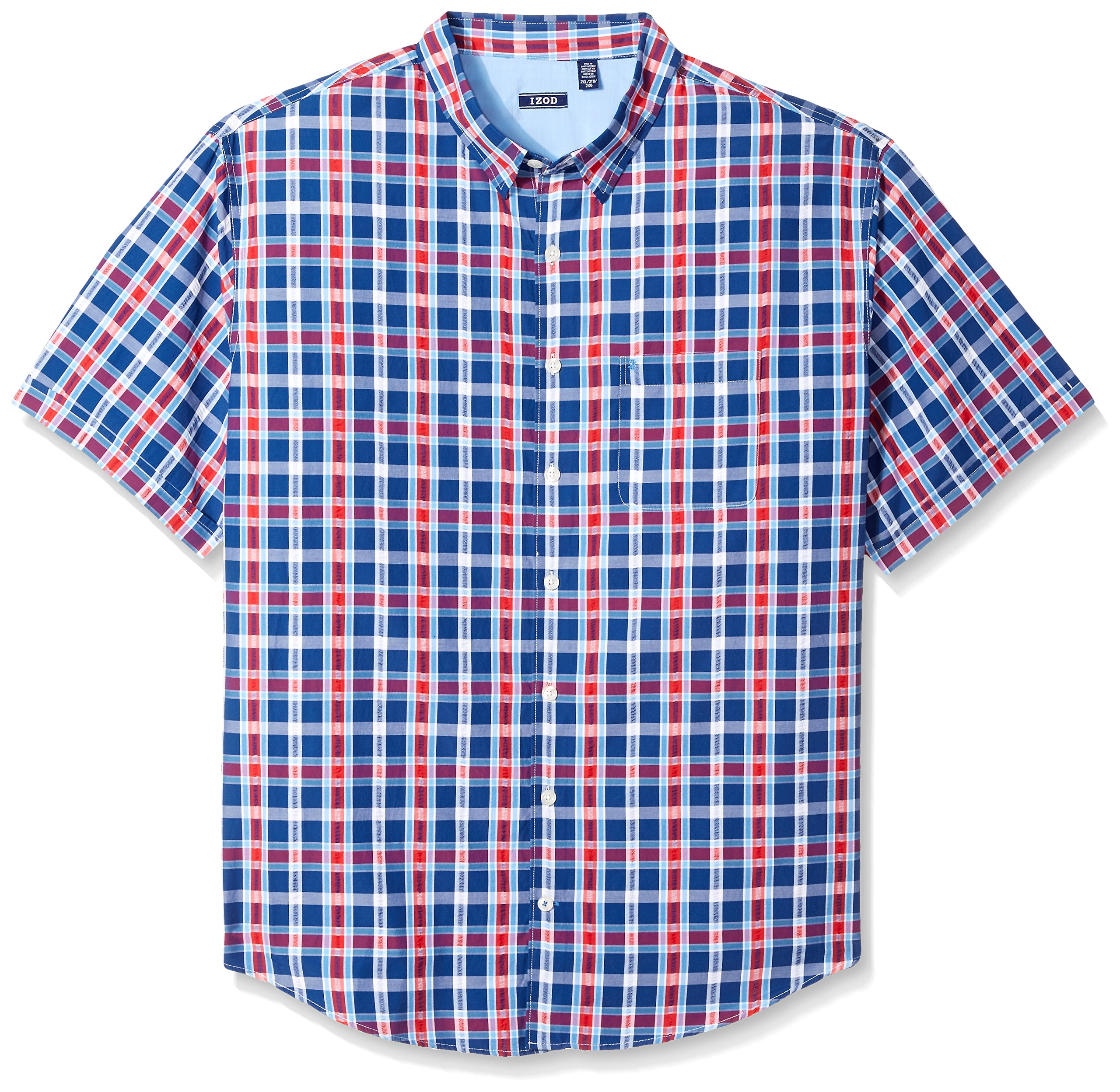 IZOD Men's Tall Short Sleeve Plaid Seersucker Shirt, Estate Blue, 4X-Large Big