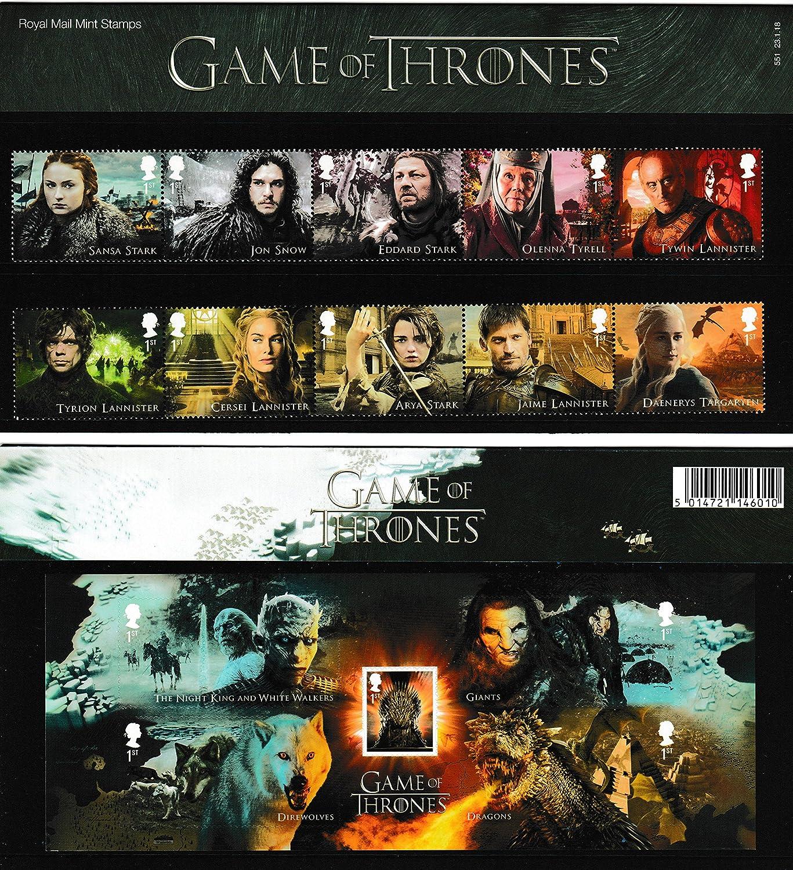 Game of Thrones Präsentation Pack Briefmarken enthält alle 10spezielle Briefmarken und die Miniatur-Tabelle Royal Mail