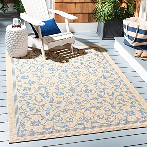 Safavieh Courtyard Collection CY2098-3101 Natural and Blue Indoor Outdoor Area Rug 9 x 12