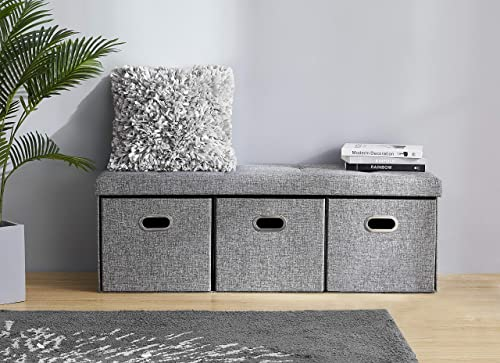 Ornavo Home Foldable Tufted Linen Large Bench Storage Ottoman Foot Rest Stool Seat with 3 Drawer Cubes – 15 x 45 x 15 Grey
