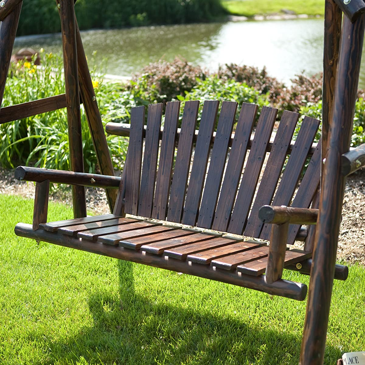 Wooden Porch Swing - Rustic Torched Log Curved Back Porch Swing and A-frame Set, Wooden Swing Bench