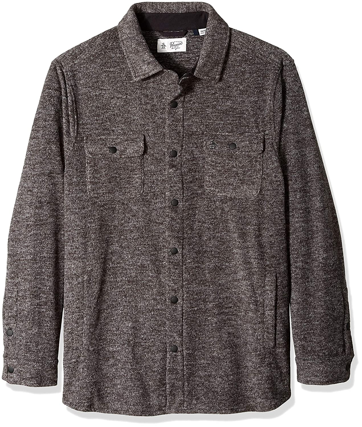 Original Penguin Men's Big and Tall Long Sleeve Button Down Fleece Jacket OPRF8B31