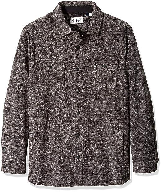 Original Penguin Mens Zip Front Heathered Fleece Jacket