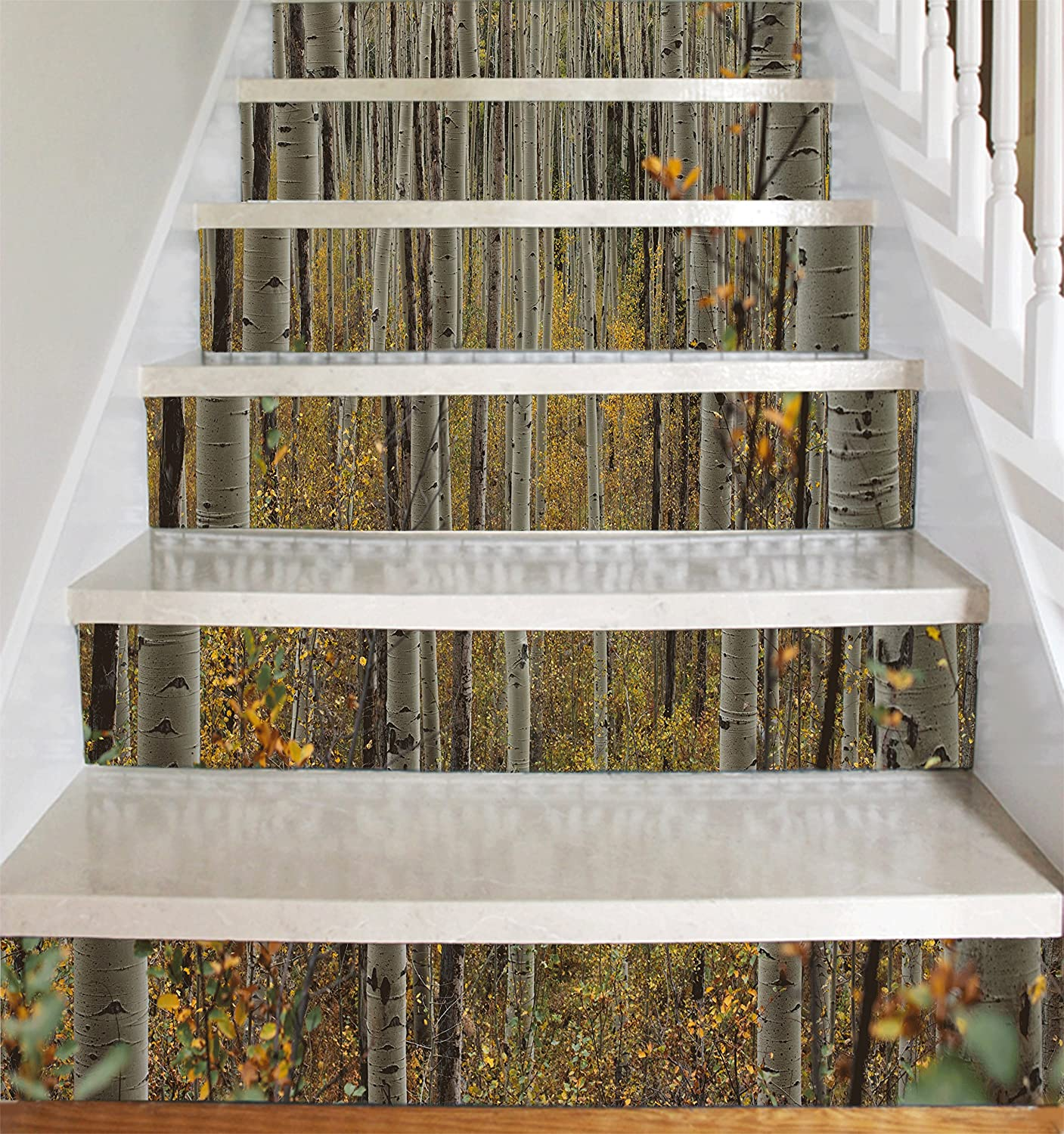 Amazon Vinyl Decal Strips for Stair Risers Birch Trees on