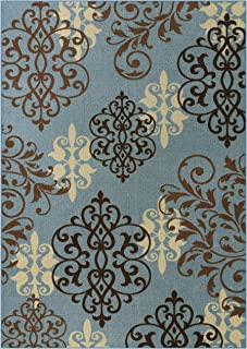 product image for Maples Rugs Area Rug - Eleanor 7 x 10 Non Slip Large Rugs [Made in USA] for Living Room, Bedroom, and Dining Room, Blue