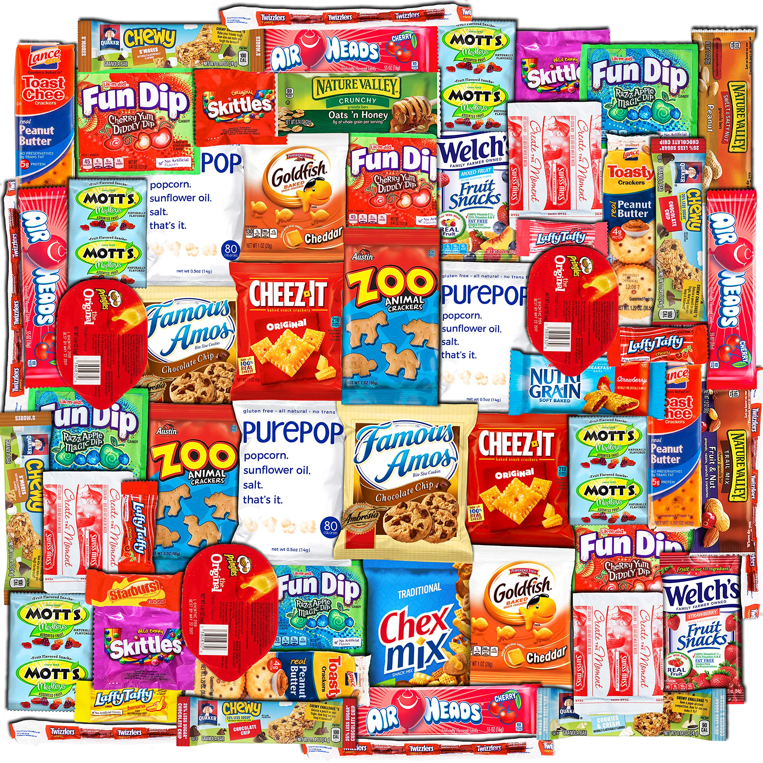 Canopy Snacks (60 Count) - Ultimate Care Package – Variety Box Gift Pack – Assortment Basket Bundle of Treats with Chips, Candy and Cookies for College Students, Easter Basket Fillers Stuffers Kids