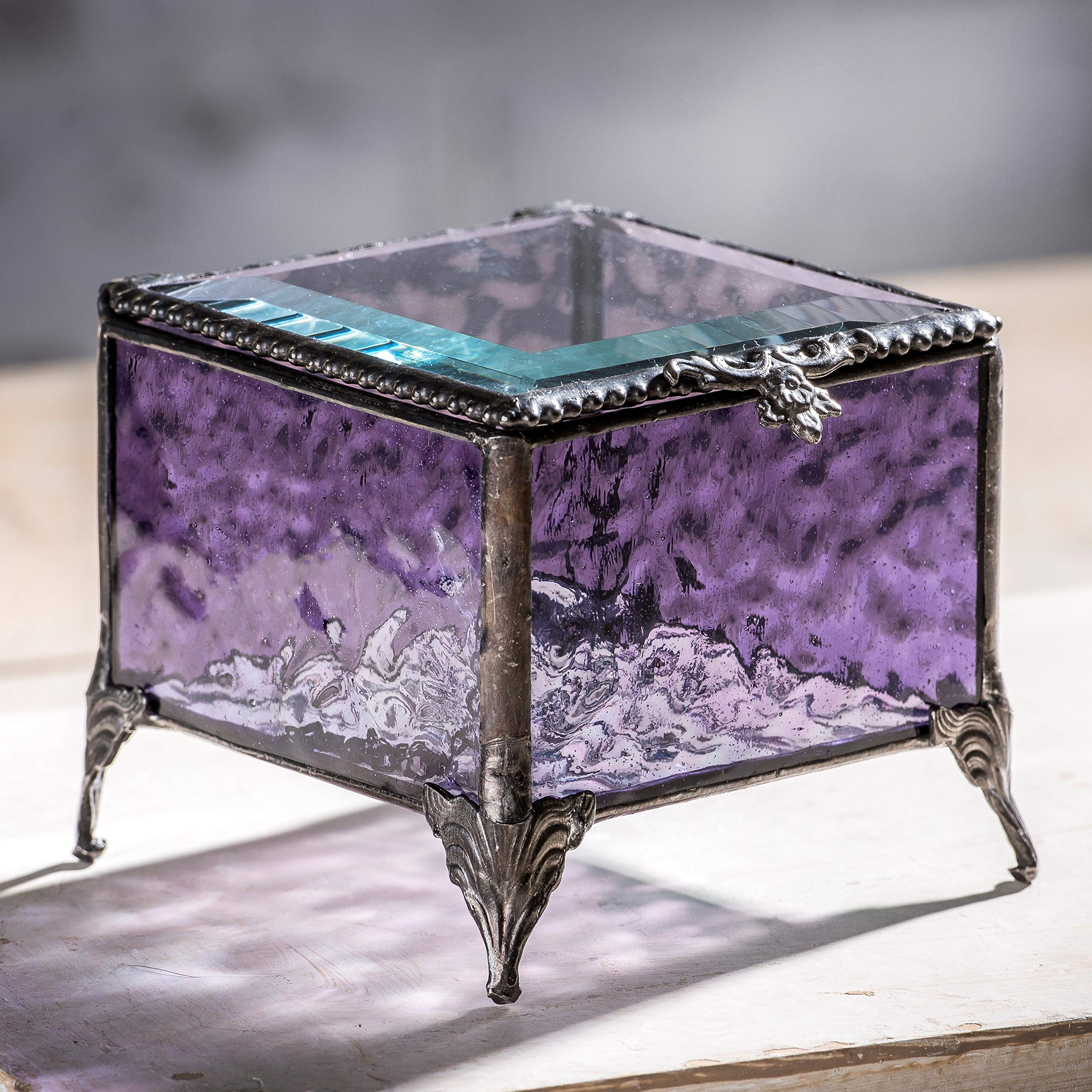 J Devlin Box 836 Amethyst Glass Box Decorative Vintage Keepsake Trinket Jewelry Box Gift by J Devlin Glass Art (Image #2)