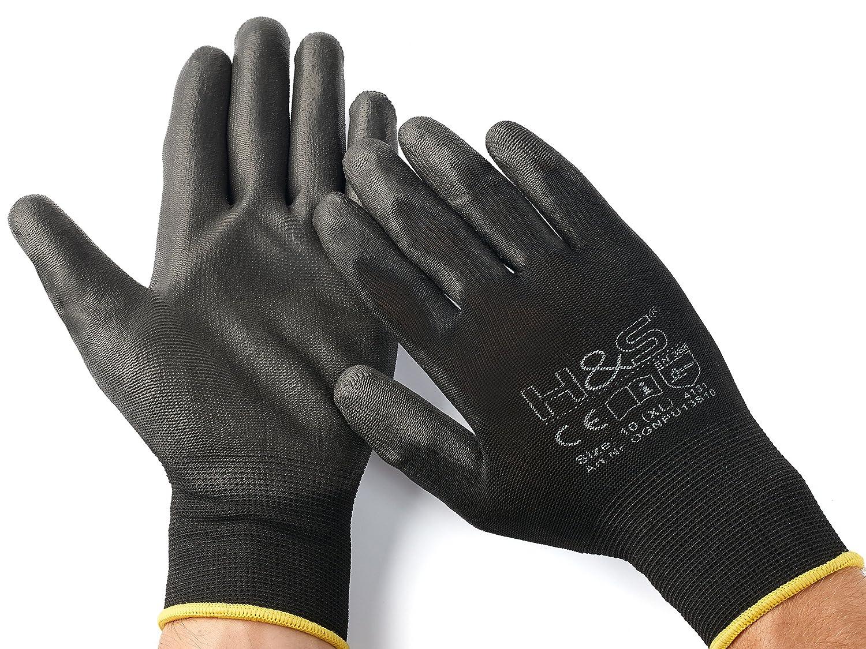 10 XL x-large Nylon 11 9 M medium 7 L large vielseitig PU-beschichtet   nahtlos 12 Paar Arbeits-Handschuhe von ISC H/&S Gr/ö/ße 10 8 XL XXL xx.large schwarz verf/ügbar in S small