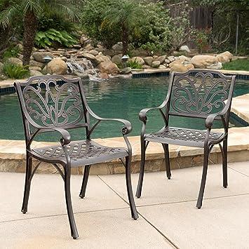 Calandra Patio Furniture ~ Cast Aluminum Outdoor Dining Chairs (Set Of 2)  (Bronze