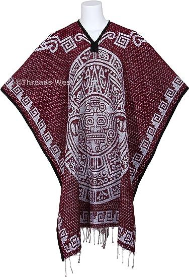 DARK BROWN  aztec warrior aztec calendar reversible  heavy thick poncho  super warm and soft
