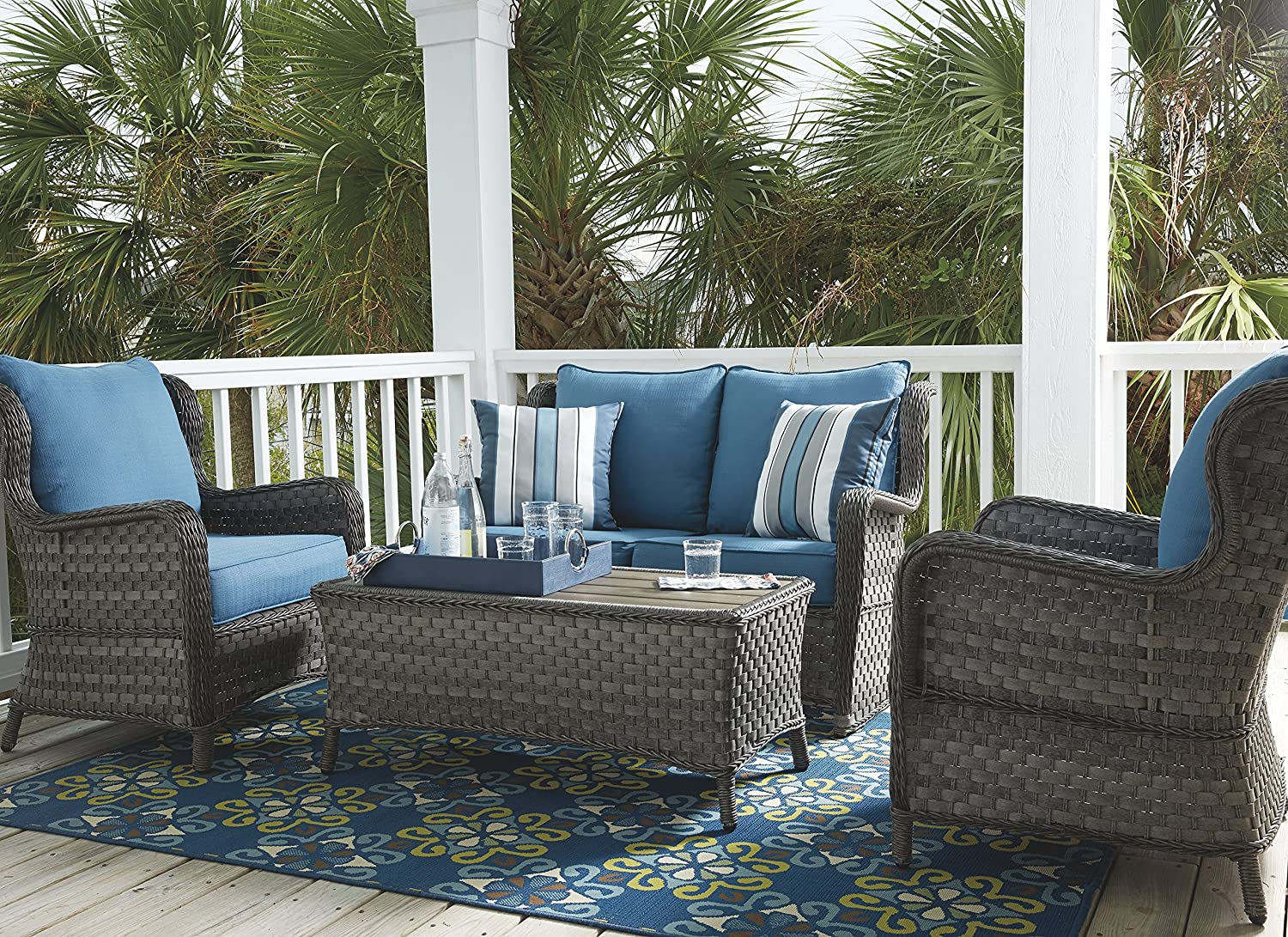 Ashley Furniture Signature Design – Abbots Court Outdoor Lounge Chair with Cushions – Set of 2 – Wicker – Blue Gray