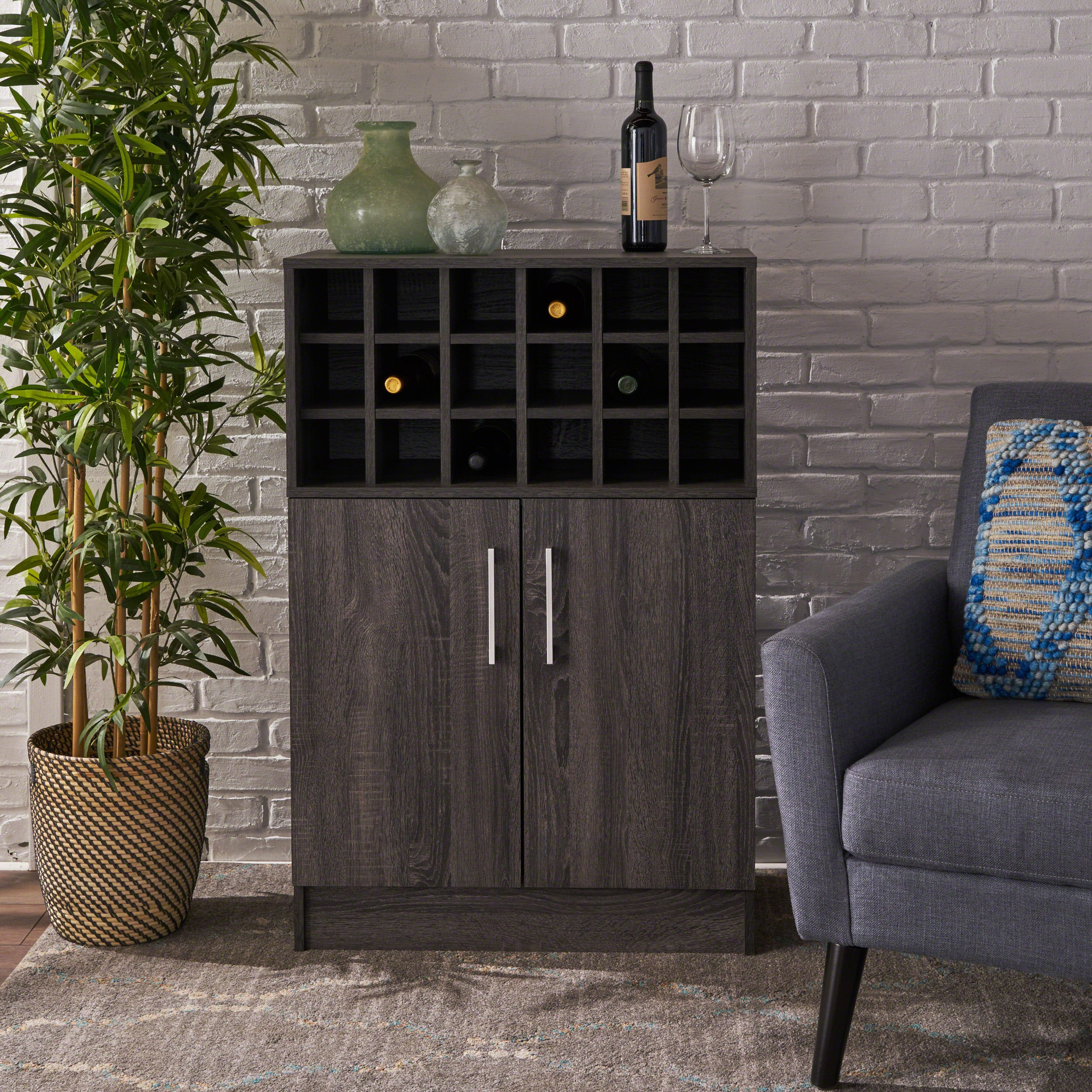 Ridgecrest Wine and Bar Cabinet | Mid Century Modern, Danish Styling | Faux Wood with Sonoma Grey Oak Finish by Christopher Knight Home