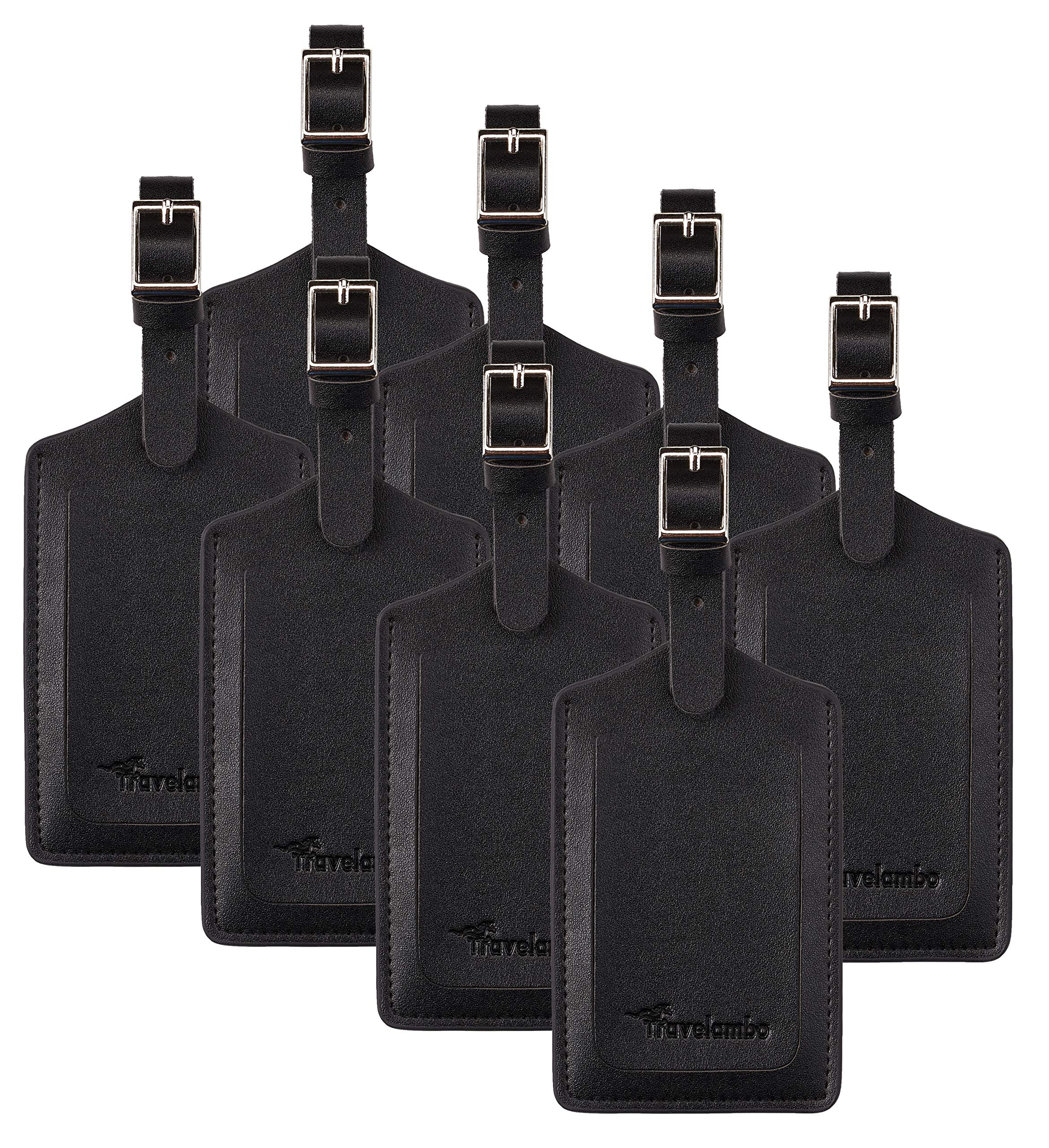 8 Pack Leather Luggage Travel Bag Tags by Travelambo Black by Travelambo