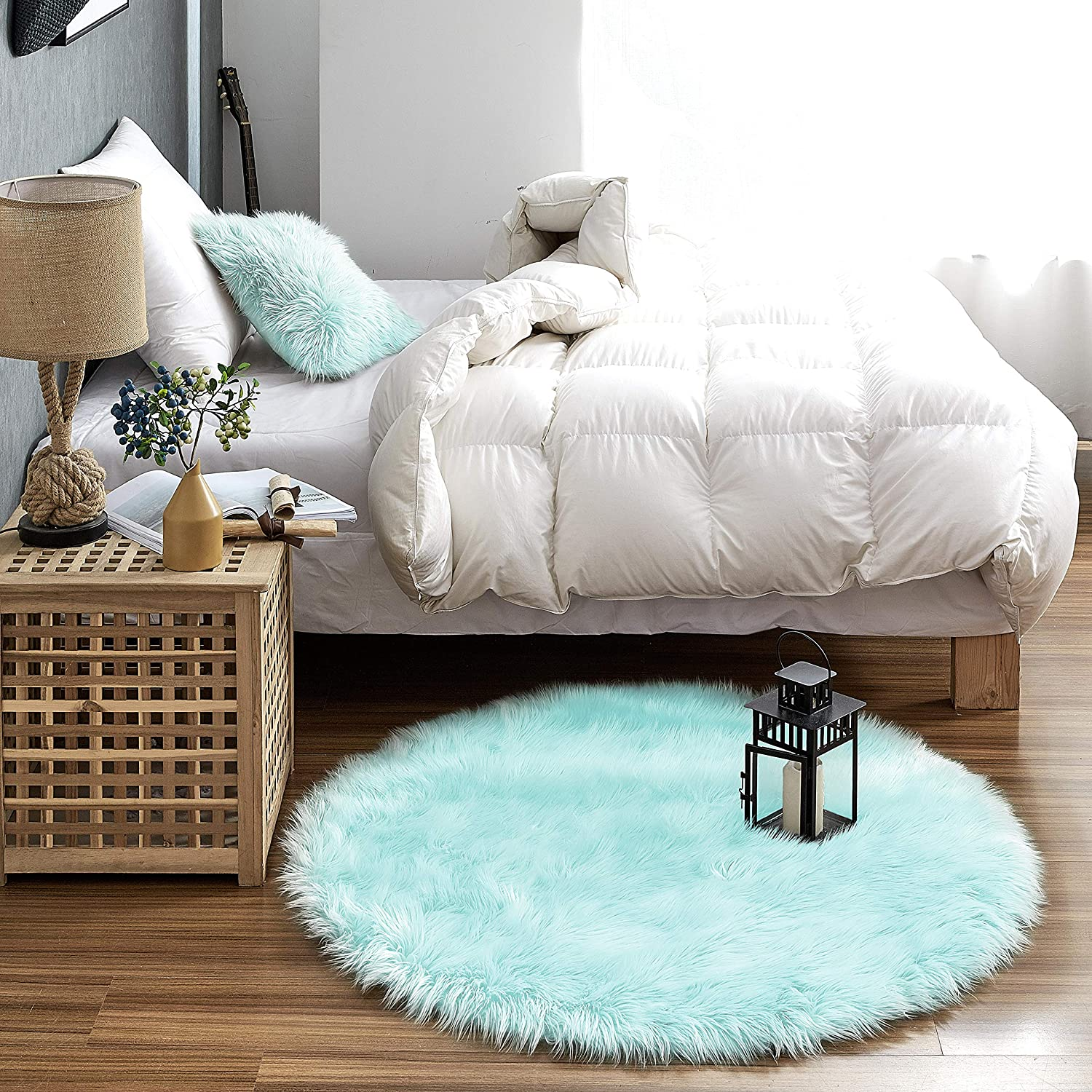 Stools and Couches Mocha 90 cm Fluffy Rug for the Bedroom Living Room or Nursery Lambskin Fur Rug Furry Carpet or Throw for Chairs Round Teppich W/ölkchen Faux Sheepskin