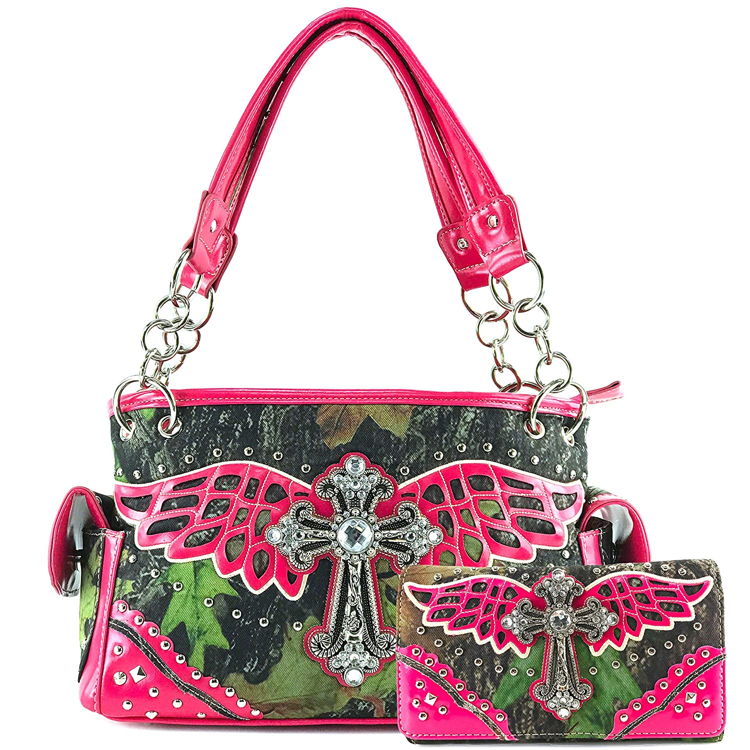 Justin West Camouflage Tree Branches Bling Rhinestone Buckle/Cross Shoulder Concealed Carry Handbag Purse