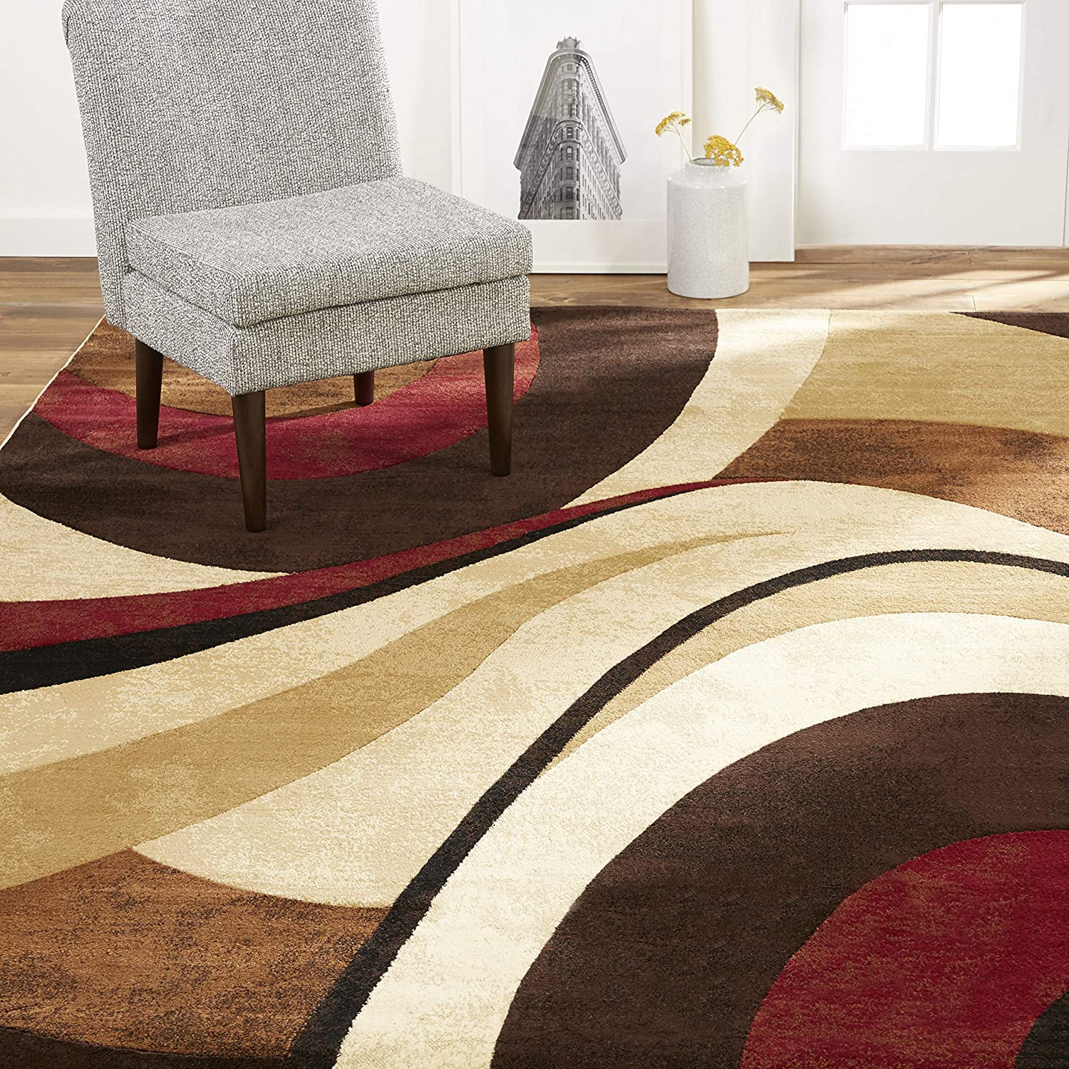 Amazon Com Home Dynamix Tribeca Slade Modern Area Rug Abstract Brown Red 39 X55 Furniture Decor