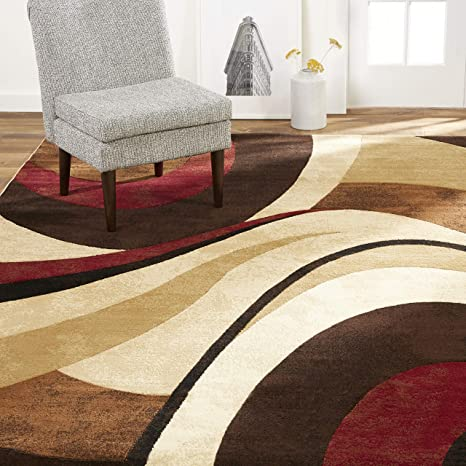 Amazon Com Home Dynamix Tribeca Slade Modern Area Rug Abstract Brown Red 7 10 X10 6 Furniture Decor