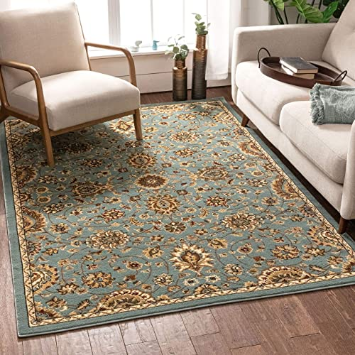 Well Woven Imperial Sarouk Light Blue Oriental 8×10 7'10″ x 9'10″ Traditional Persian Floral Area Rug Carpet
