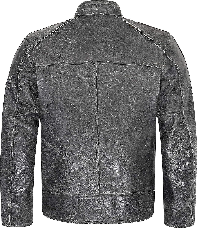 XLS Motorradjacke Classic Urban f/ür Herren schwarz aus Leder Retro Bikerjacke herausnehmbares Thermofutter Gr/ö/ße XL