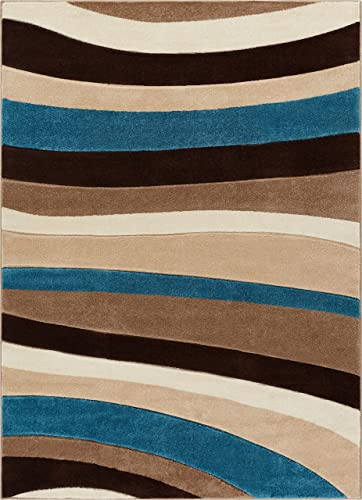 Temptation Waves Stripes Blue Beige Brown Modern 8×10 8×11 7 10 x 9 10 Geometric Comfy Casual Hand Carved Area Rug Easy to Clean Stain Fade Resistant Abstract Contemporary Thick Soft Plush