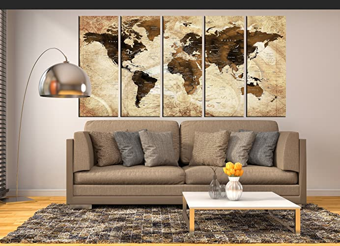 Sepia Wall Art Push Pin World Map Canvas Print Framed Extra Large Wall Art  For Living