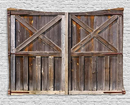 Amazon Ambesonne Rustic Tapestry Decor Old Wooden Barn Door Of