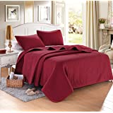 "Burgundy Solid Color Quilt 90""L-102""W, 2 Shams 20""L-26""W (inner 19""-25""). Hypoallergenic, Finely Stitched, All Season, Coverlet, Bed-cover, Washable, Durable"