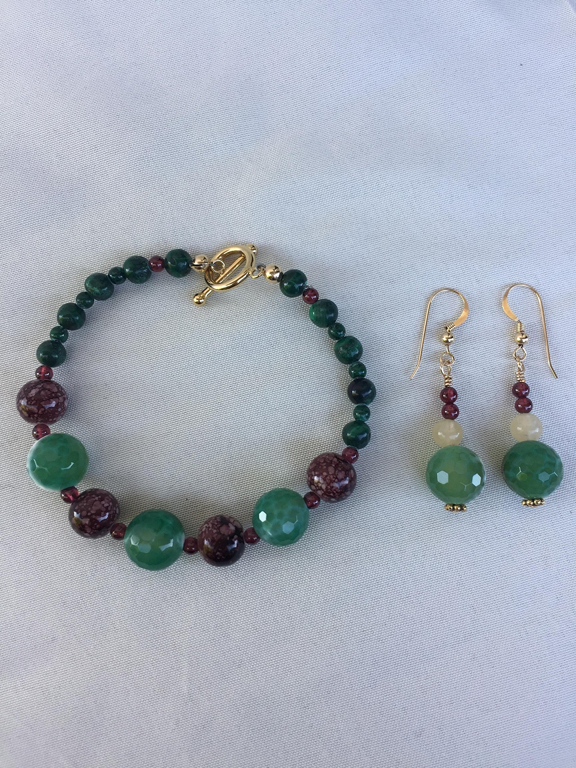 Gemstone handmade Christmas bracelet and earrings. Mixed gemstones in green and red. One of a kind