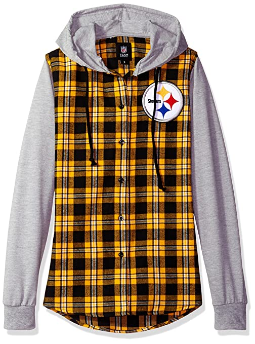 Amazon.com   Pittsburgh Steelers Lightweight Flannel Hooded Jacket ... 6fb5a6624