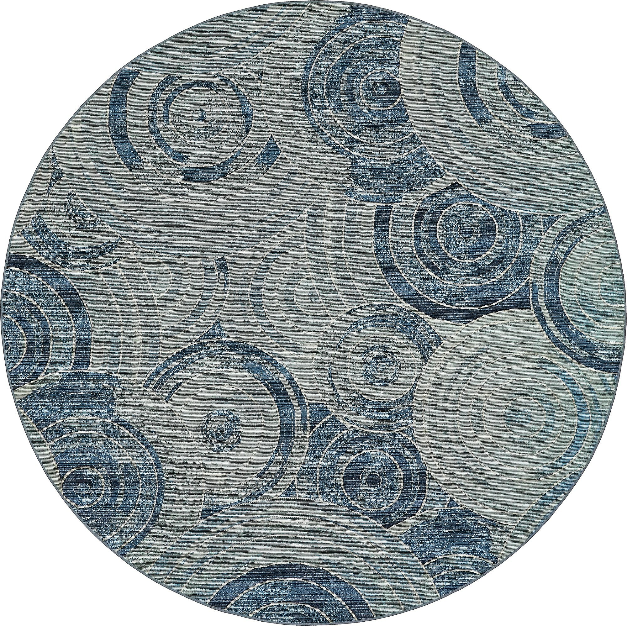 Unique Loom Eden Outdoor Collection Light Blue 8 ft Round Area Rug (8' x 8')