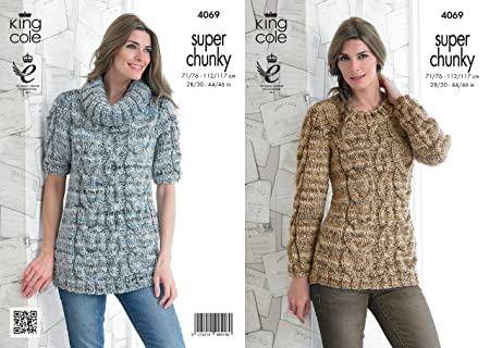 King Cole Ladies Gypsy Super Chunky Knitting Pattern Cable Knit